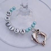 Double Dolphins Personalised Wine Glass Charm